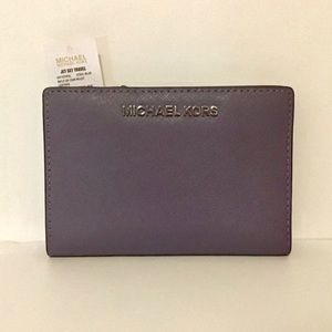 MICHAEL KORS Jet Set Bifold Wallet Steel Blue NWT